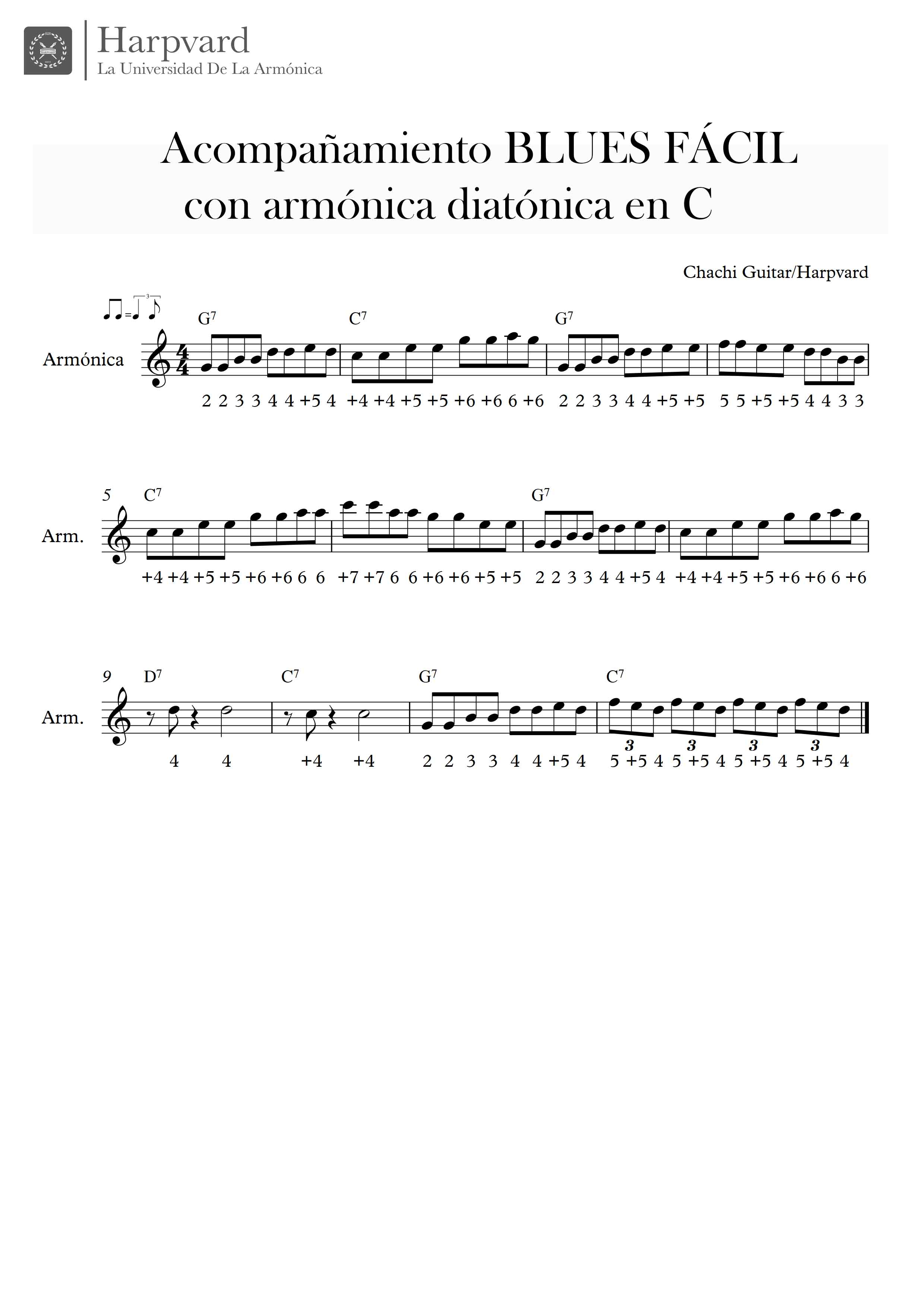 partitura acompañamiento armónica blues fácil chachi guitar